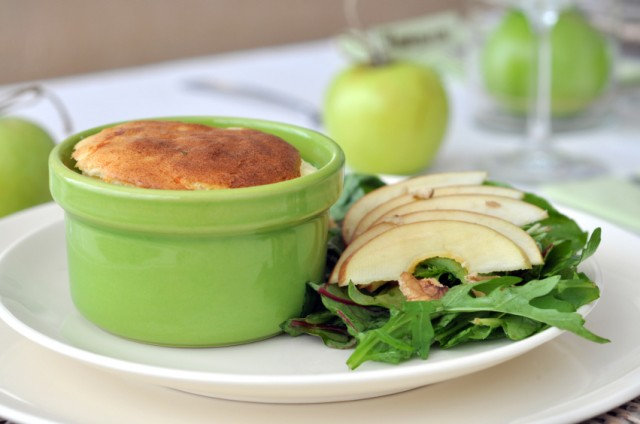 Cheese Souffle, salad