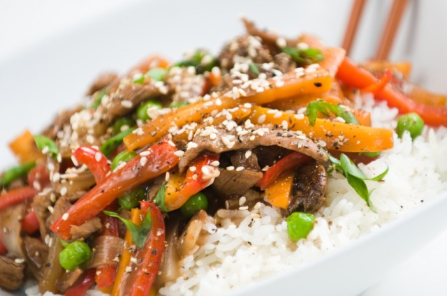 steak, vegetables, and rice