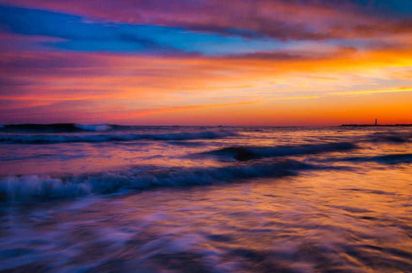 A New Jersey beach at sunset