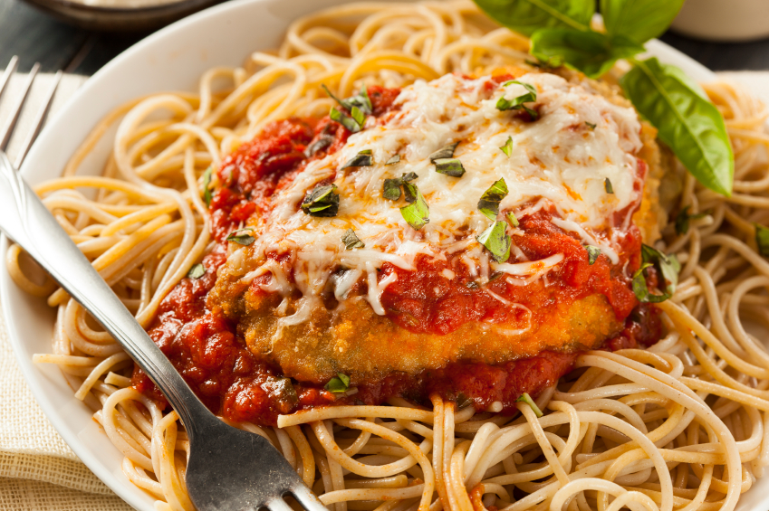 Chicken Parmesan with spaghetti noodles