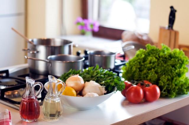 kitchen counter with veggies