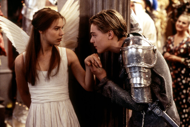 A young Leonardo DiCaprio kisses the hand of Claire Danes in Romeo and Juliet