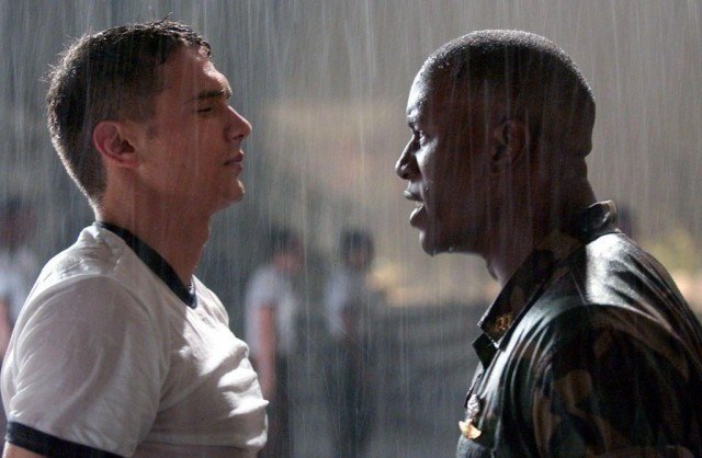 James Franco and Tyrese Gibson face each other in the rain in Annapolis