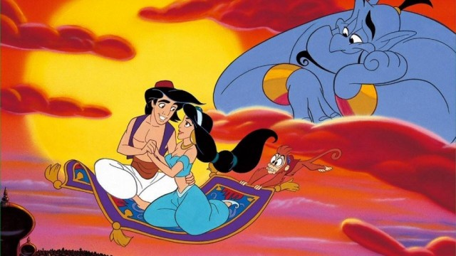 Aladdin and Jasmine riding on the magic carpet.