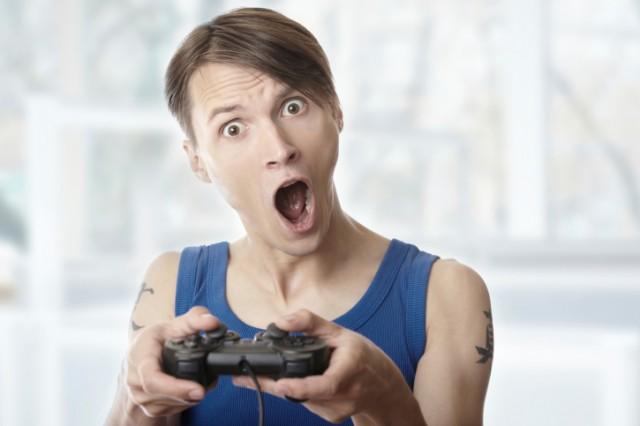 Man having fun playing video games