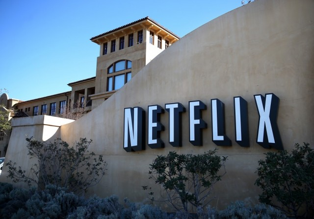 A sign is posted in front of the Netflix headquarters on January 22, 2014 in Los Gatos, California.