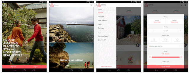 Airbnb app (Android)
