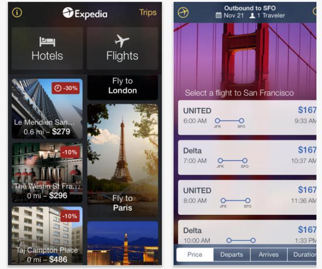 Expedia app (iOS)