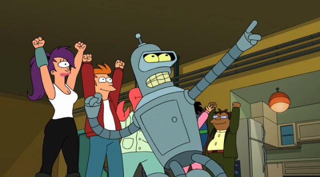 Futurama characters cheering inside their home.