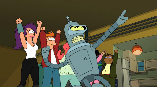The characters of 'Futurama' cheering inside the apartment.