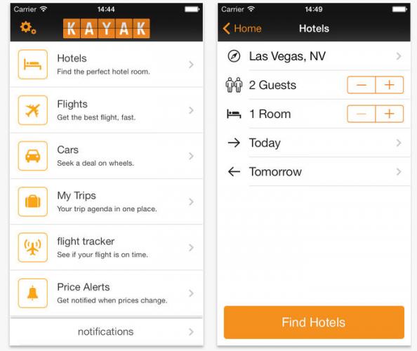 KAYAK app (iOS)