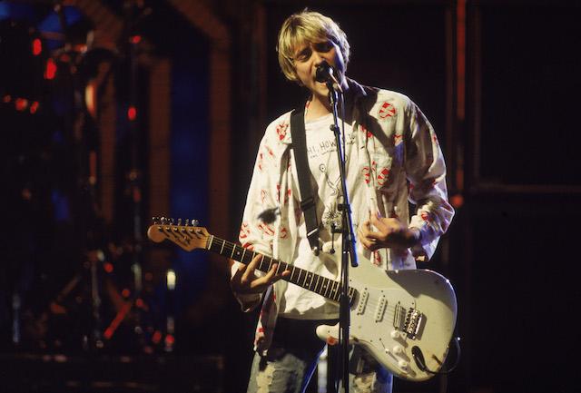 Nirvana's Kurt Cobain in concert.