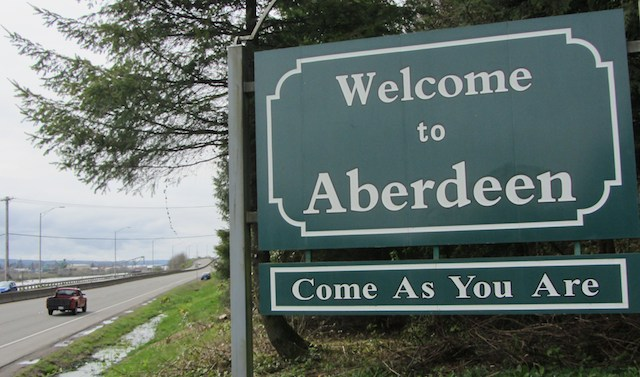 Aberdeen town limits sign.