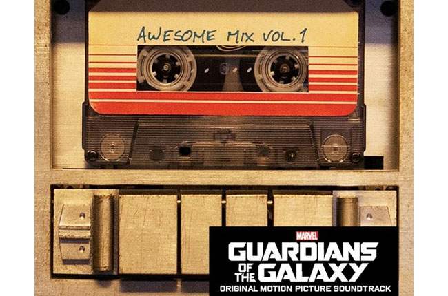 A poster for Guardians of the Galaxy featuring a cassette tape labeled 'Awesome Mix Vol. 1'