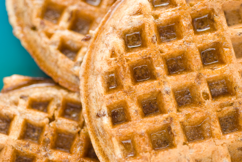 Kashi 7 grain waffles with syrup