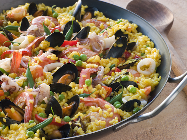 Seafood paella with mussels and shrimp