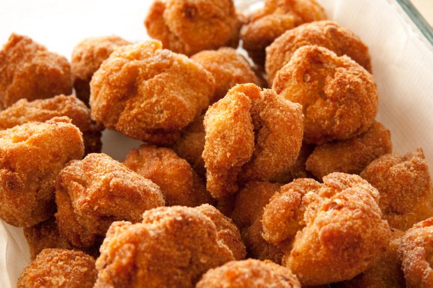 golden, crispy chicken nuggets