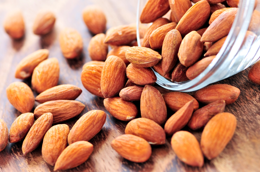 almonds spilling out of a bowl