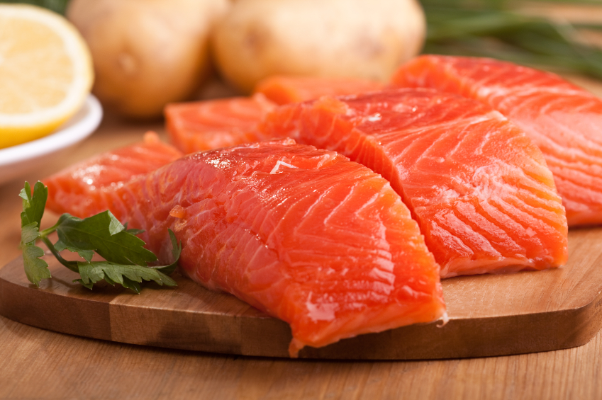 raw salmon fillet portions
