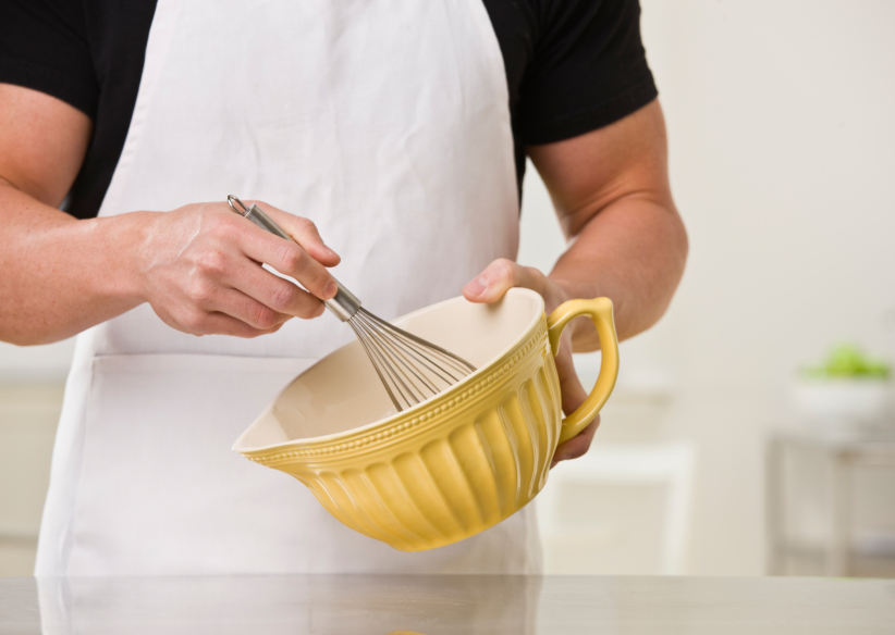 man whisking