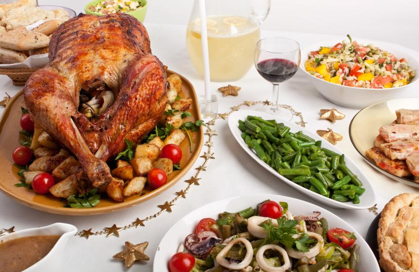 Turkey, holiday table, food