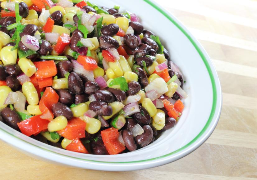 corn, beans, and tomato salsa