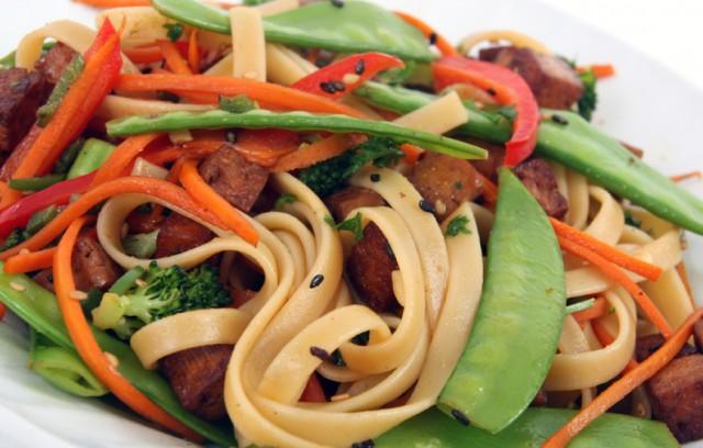 pork and noodle stir-fry