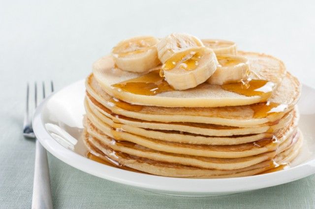 pancakes, banana and syrup