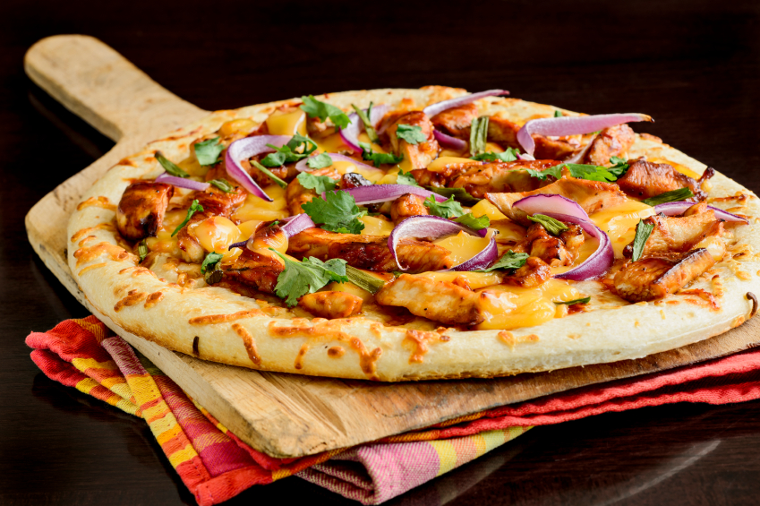 barbecue chicken pizza with cilantro and red onion