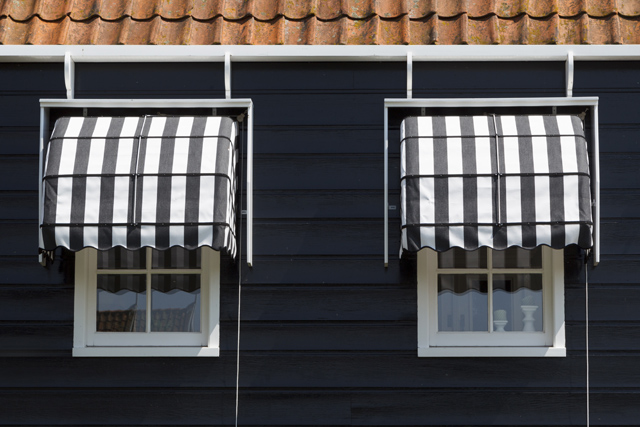 Windows on a house facade