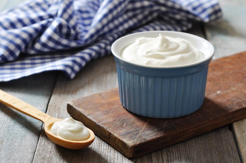 blue ramekin filled with Greek yogurt