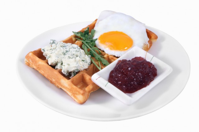 waffle with egg, herbs, and sauce