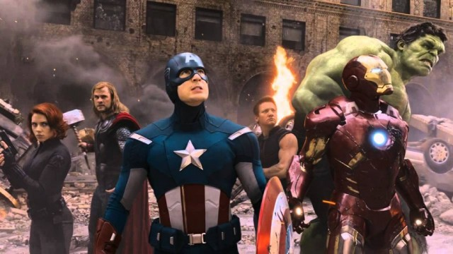 The Avengers gather in a rubble-filled clearing in downtown New York