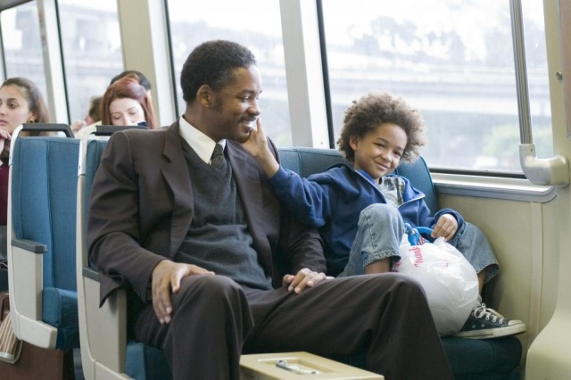 Will Smith with his son on the bus