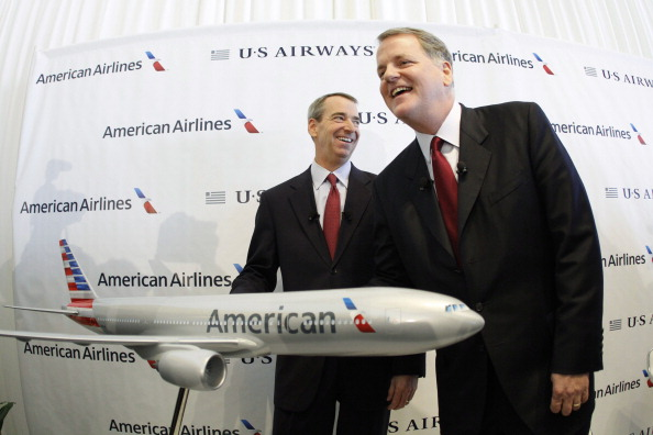 Airline execs with a model plane