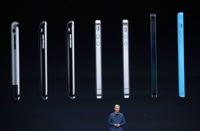 Apple CEO Tim Cook speaks about the iPhone 6 during an Apple special event