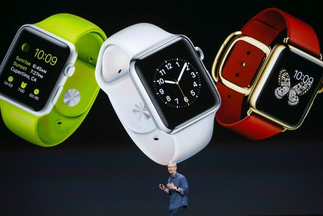 Apple CEO Tim Cook speaks during an Apple special event (Apple Watch)