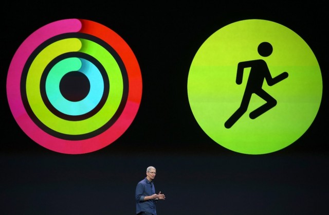 Apple CEO Tim Cook announces fitness apps for the new iPhone 6 and Apple Watch (Activity app and Workout app)