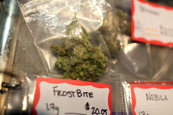 Different strains of medical marijuana are displayed