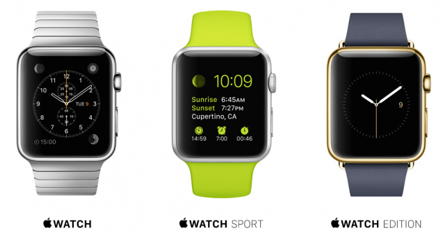 Apple Watch, Apple Watch Sport, Apple Watch Edition