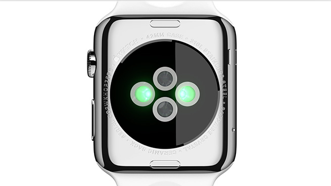 Apple Watch uses Infrared and visible-light LEDs, along with photosensors, to detect your pulse rate