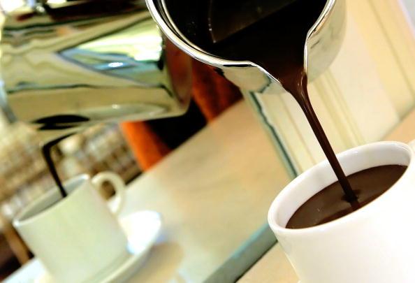 pouring hot chocolate into a mug
