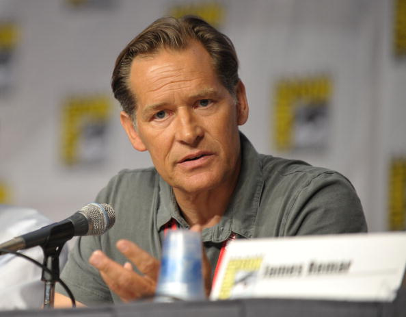 Actor James Remar speaks at a microphone at a panel