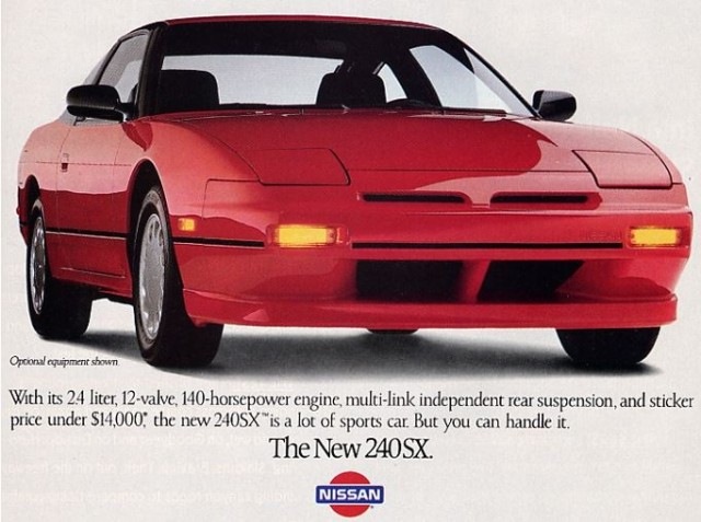 An old advertisement for the 1989 Nissan 240 SX
