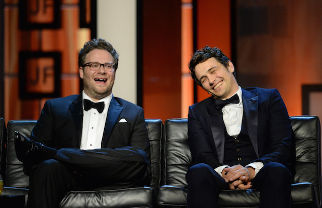 James Franco and Seth Rogen onstage during The Comedy Central Roast of James Franco