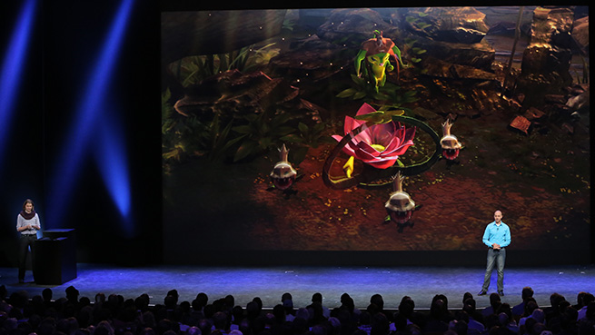 Stephan Sherman of Super Evil Megacorp gives a demo of Vainglory on iPhone 6
