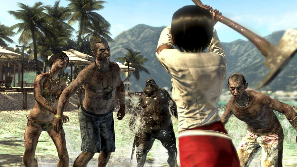 A survivor fends off zombies.