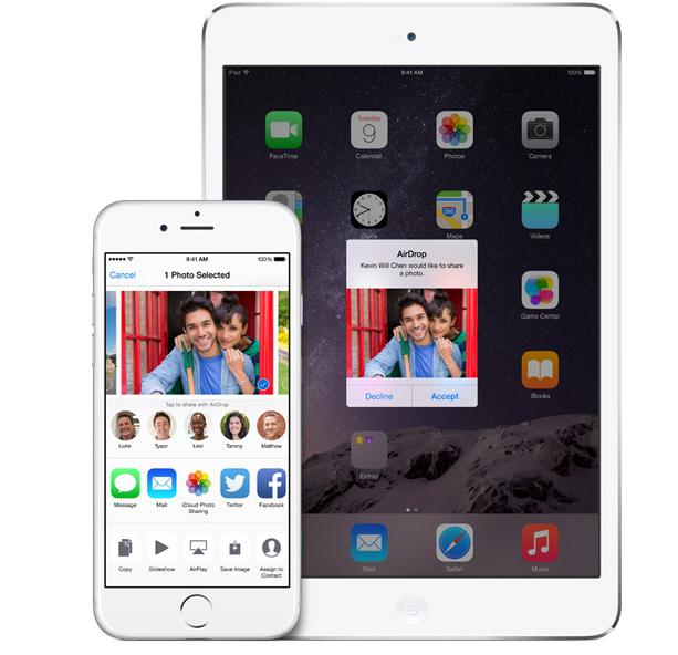 iOS 8 AirDrop iPad