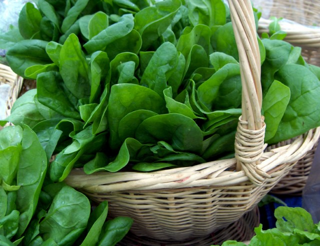 Spinach in a basket