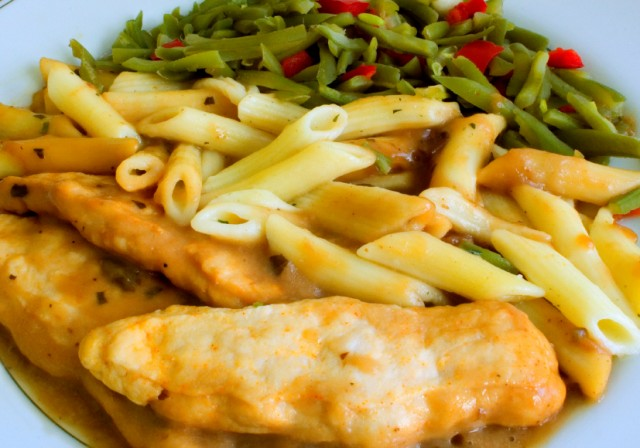 chicken with pasta and green beans